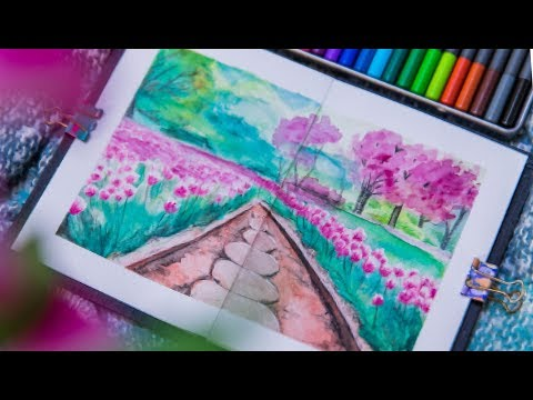 Watercolor Pencil Tutorial | Landscape Painting for Beginners