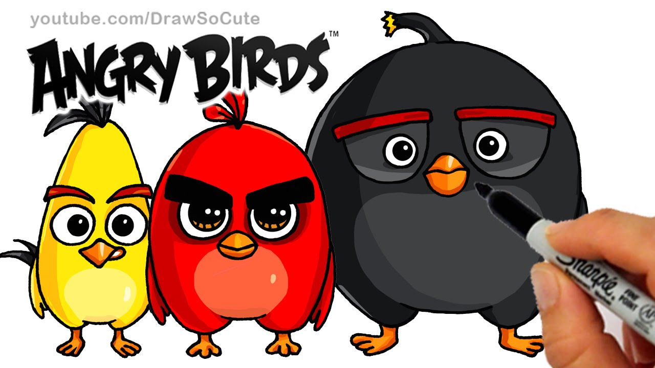 How to draw angry birds movie red chuck and bomb bird step by step cute and easy youtube
