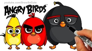 How to Draw ANGRY BIRDS Movie - Red, Chuck and Bomb Bird step by step Cute and Easy