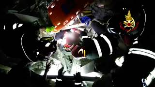 Firefighters on Ischia Search Collapsed Building for Survivors