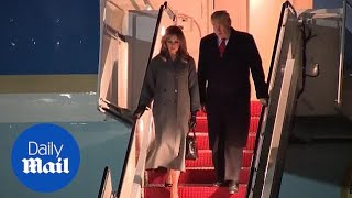 President Trump and first lady Melania return from Paris trip