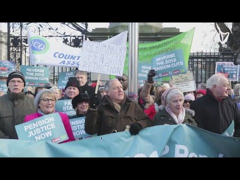 VIDEO: Pension protests outside Leinster House