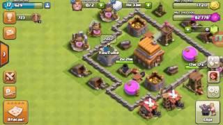 Jogando clash of clans no meu clã novo