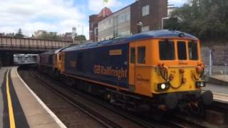 Pure Class 73/9 Thrash - 73962 Blasts out of Tunbridge Wells Towing 66760 + 66742 + 66725, 25/5/15.