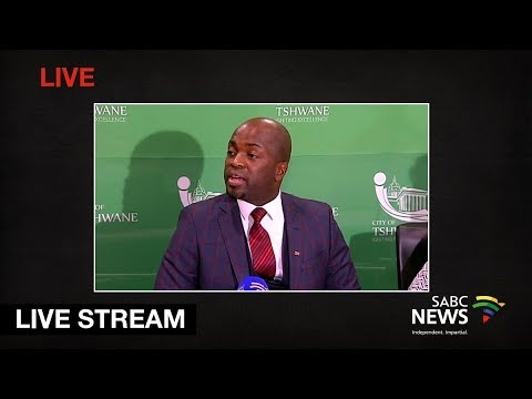 City of Tshwane mayor Solly Msimanga briefs the media