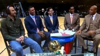 Charles Barkley whispers Ginobili Game 5 NBA Finals 2013