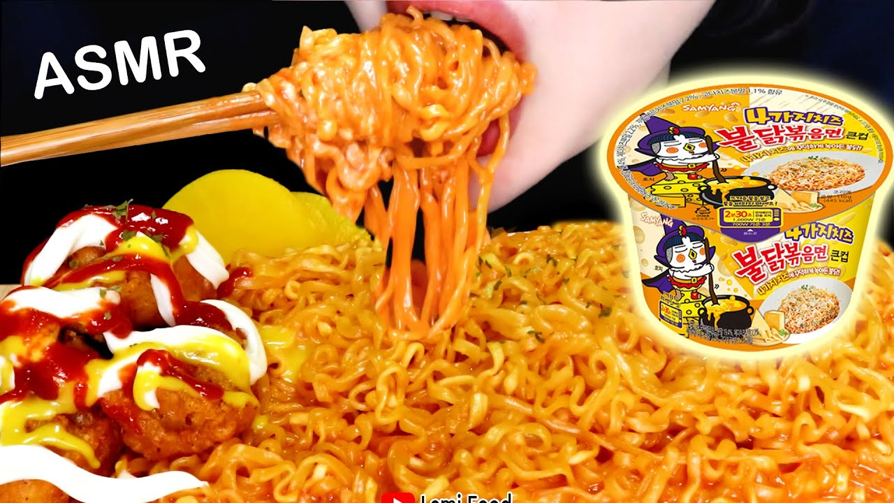 SUPER CHEESY FIRE CHICKEN NOODLES ASMR    CHEESY NOODLES EATING SOUNDS