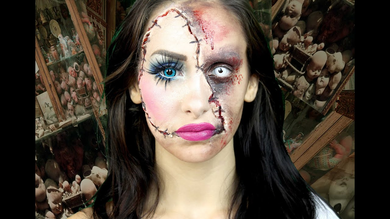 horror doll a scary halloween makeup tutorial lacindina cindysold youtube