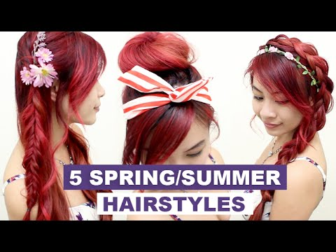 5 Hairstyles for Spring & Summer l Quick Cute and Easy Hair ...
