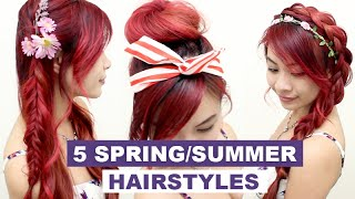 5 Hairstyles for Spring & Summer l Quick Cute and Easy Hair Tutorials for Medium Long Hair