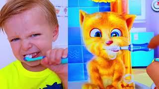 Малыш НЕ ХОЧЕТ КУШАТЬ Ryan PLAY WITH CAT