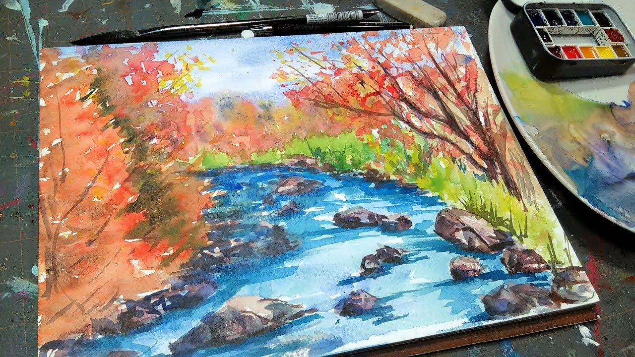 Beginner FAll Landscape Tutorial U0026 Schmincke Horadam Watercolor Review