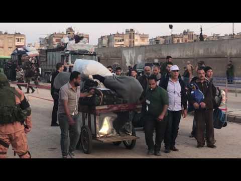 SYRIA: HOMS, AL WAER EVACUATION OF NUSRA FRONT TERRORISTS
