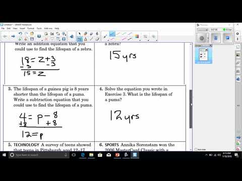video for solving one step equation word problems HW