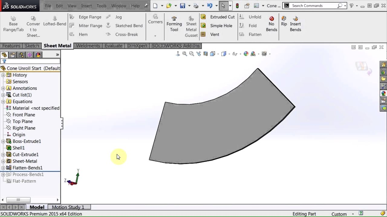 Solidworks sheet metal cone pattern cut youtube for Sheet metal cone template
