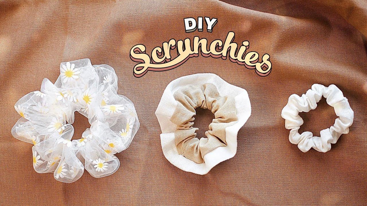 Download DIY Scrunchies   3 Styles - 3 Easy Ways    Mini - Large - 2 color   Chiffon & Linen   Tutorial