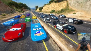 Crazy Cars - Street Race - Police VS Cars  McQueen and Friends Jackson Storm The King Cruz Ramirez