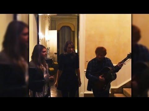 Taylor Swift, Ed Sheeran, Cara Delevingne Singing Together Trio - VIDEO
