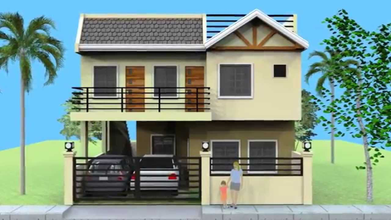 Small 2 storey house with roofdeck youtube for Exterior design of 2 storey house