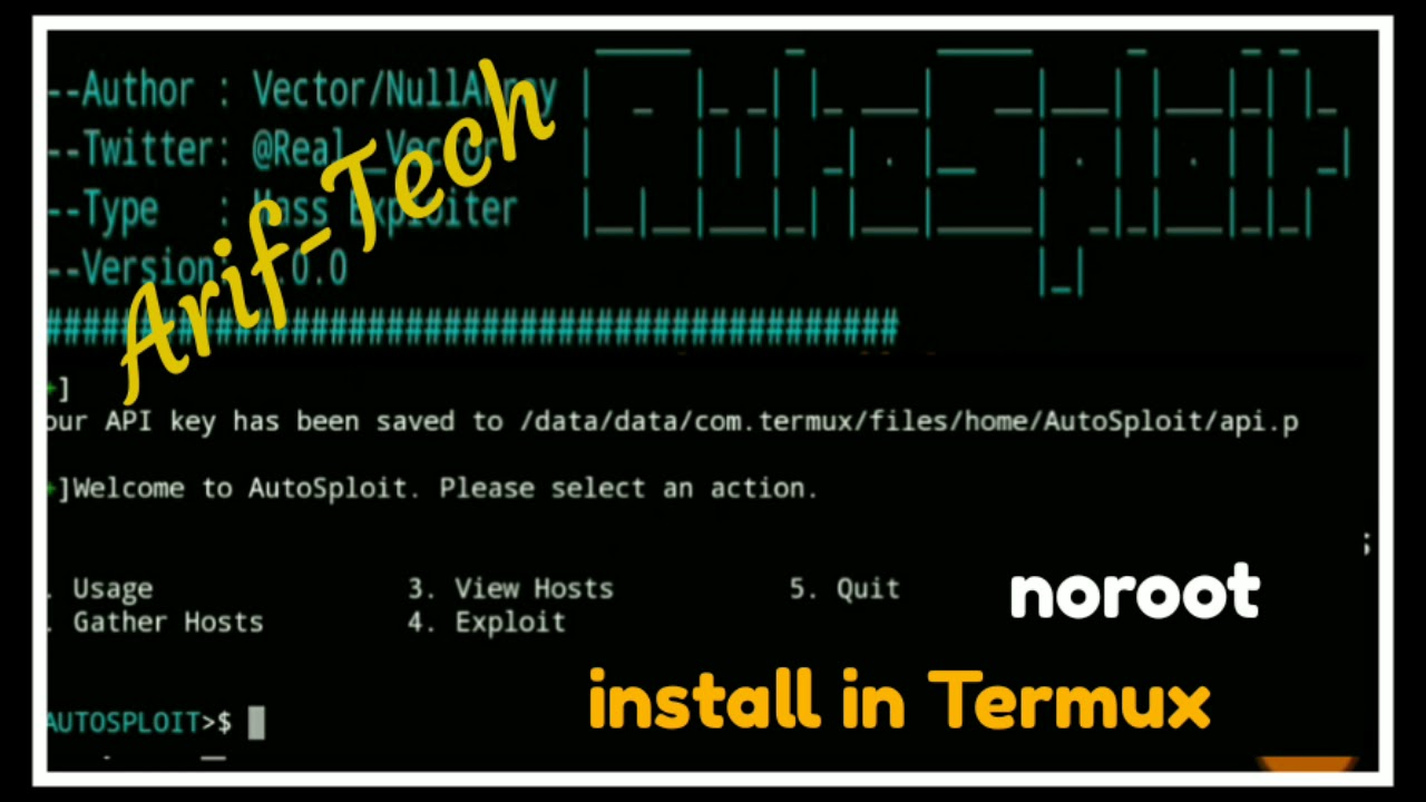 #autosploit #termux Autosploit in #Termux NoRooT-2018 by Arif - Tech