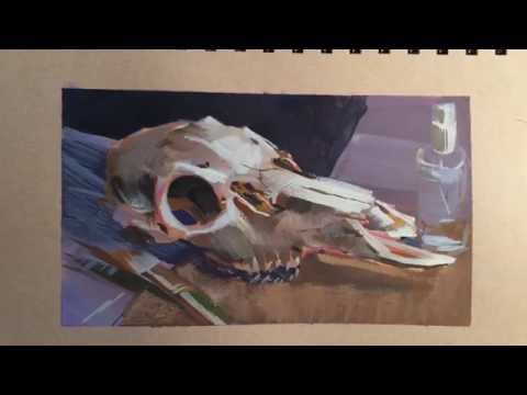 Gouache Painting Still-life Sketch From Life Of A Deer Skull