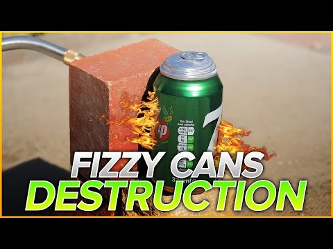 Fizzy Cans vs Blowtorch + Crossbow + Sledgehammer | Will It SlowMo?