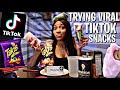 TRYING VIRAL TIK TOK SNACKS😱. ..   Pickles w/ Cotton Candy   Jalapeño w/ Cream Cheese & Takis