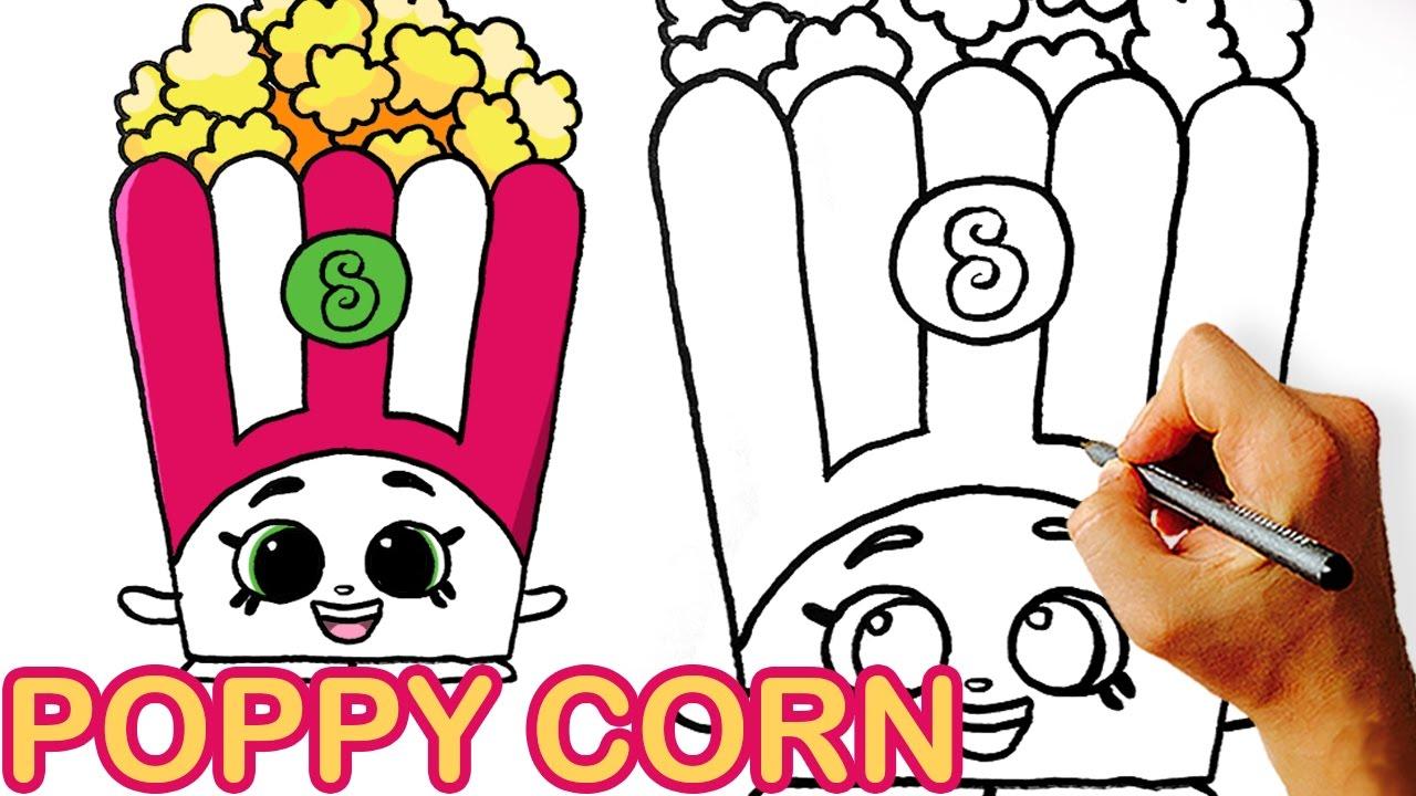 How to Draw Poppy Corn Shopkins for Kids - YouTube