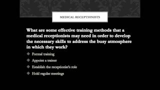 Medical Receptionist Training Video Tips