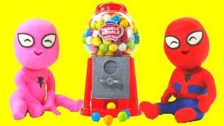 SPIDERMAN BABIES & THE GUMBALL MACHINE ❤ Spiderman, Hulk & Frozen Play Doh Cartoons For Kids thumbnail