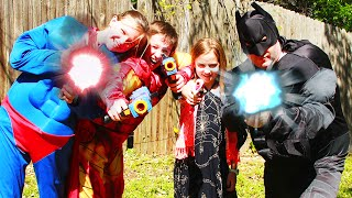 Kid Superheroes 5 - Batman Vs Superman and Iron Man in an Epic Real Life Nerf War!