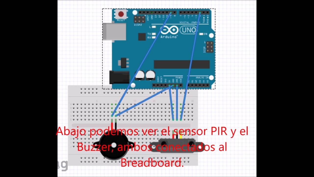 07 Programar Sensor Pir Y Buzzer Con Arduino Youtube Circuito De Luz Com Ldr Te1