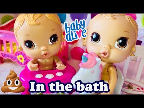 Baby Alive CRIB LIFE TWINS have a surprise in the water