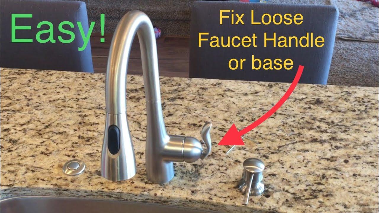 tighten loose faucet handle and base moen faucet kitchen bathroom