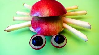 Как приготовить карвинг-блюдо. Паук из яблока.