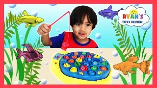 LET'S GO FISHING GAME Surprise Eggs Opening Toys Family Fun Activity for Kids Learn Colors