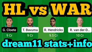 HL vs WAR Dream11| HL vs WAR | HL vs WAR Dream11 Team|