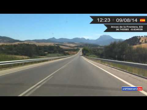 Driving from Valdelagrana to Villaluenga del Rosario (Spain) 9.08.2014 Timelapse x4