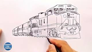 Very Easy!! How to Draw TRAIN a Cartoon for kids - Drawing doodle art