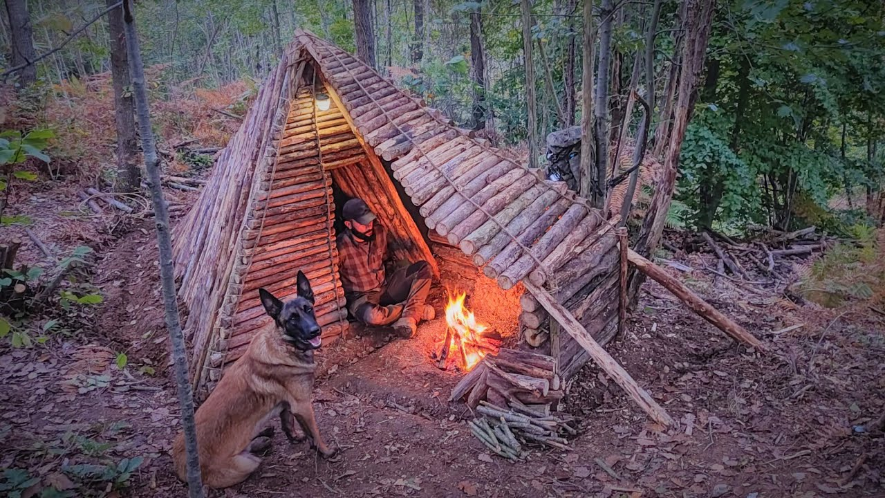 Download Bushcraft Shelter Camping: Building Fire Pit Roof, Survival Skills, Campfire Cooking, Wild Camp, DIY