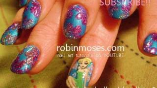 Nail Art | Diy Tinker Bell Nails | Disney Short Nail Design Tutorial