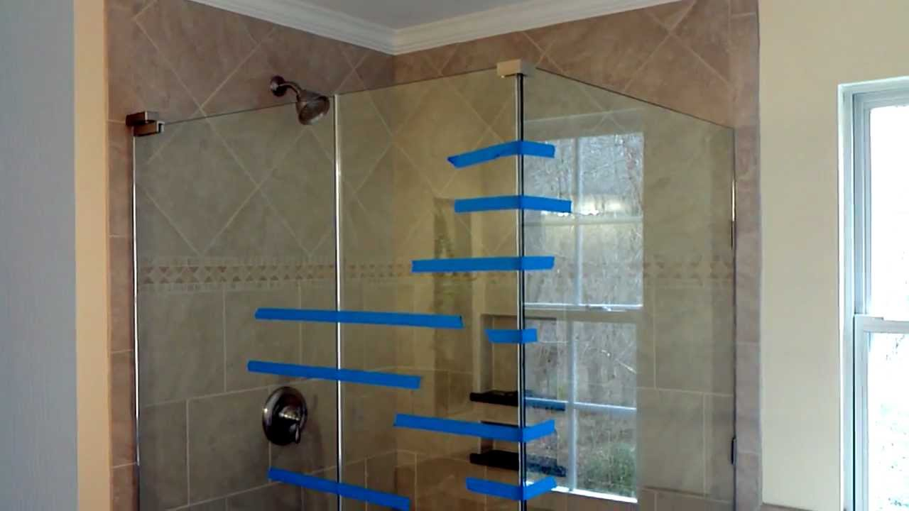 Install frameless glass doors for tile shower - YouTube