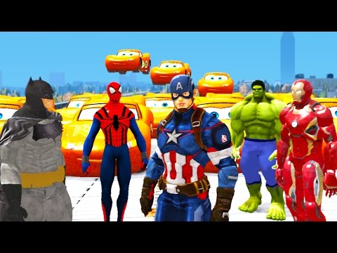 The Avengers Captain America + Spiderman + Hulk + Lightning McQueen Cars song for kids