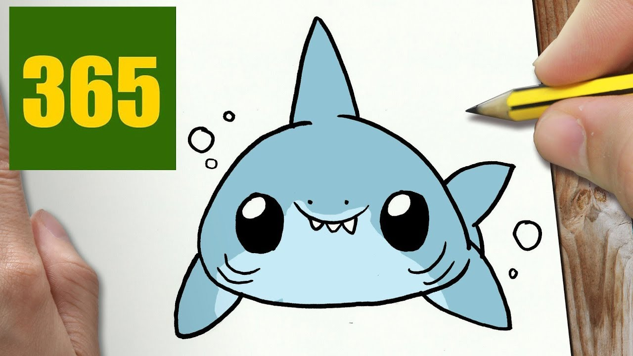 How to draw a shark cute easy step by step drawing for Immagini squalo da colorare