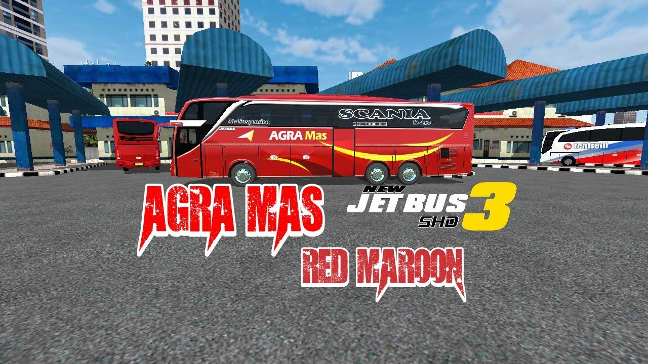 Bussid Agra Mas Red Maroon Jetbus 3 Livery Skin Bagibagiliverybussid