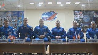 Пресс конференция экипажей ТПК «Союз МС 02»