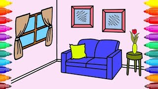 Sweet Living Room Coloring Book for Kids | Learn Colors with Colored Markers | #ColoringPainting -19