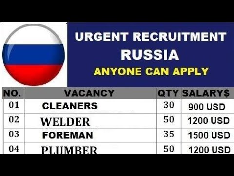 New Job in Russia Moscow !Salary 50,000 to 90,000 ! Apply Fast.