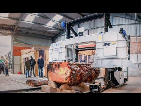Sawmilling big hardwood logs in Scotland with Wood-Mizer WM1000 Sawmill