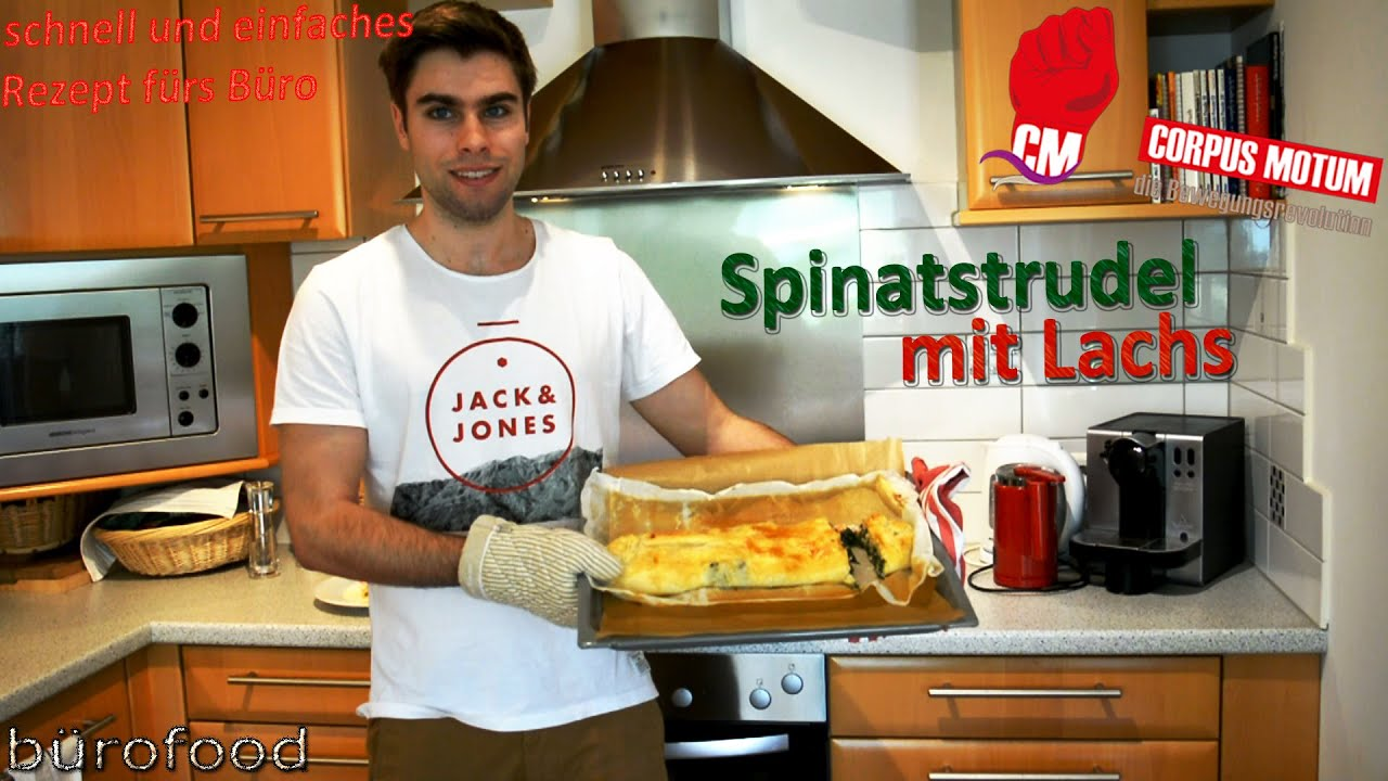 spinatstrudel mit lachs mittagessen f rs b ro youtube. Black Bedroom Furniture Sets. Home Design Ideas
